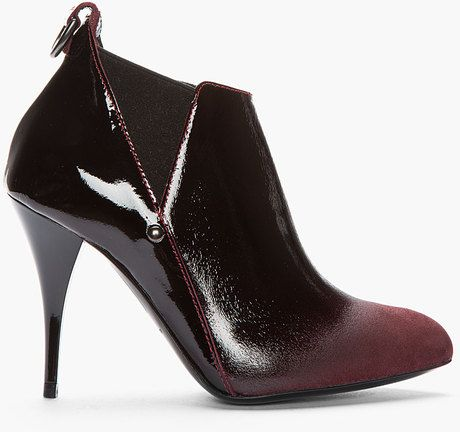 7a826c2f8ff Burgundy Patent Leather Ombre Boots - Lyst