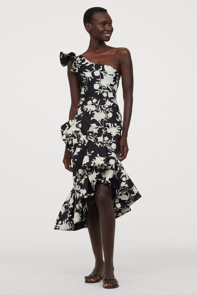 flounced skirt - black/wild roses - ladies | h&m us