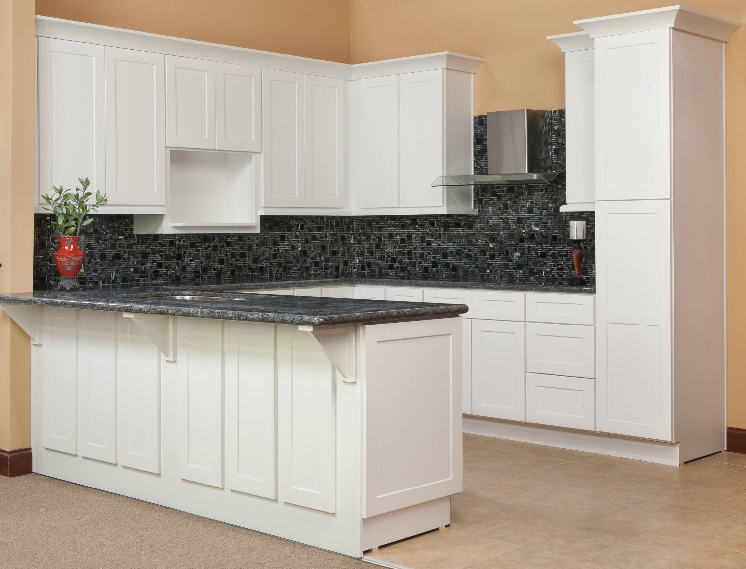 Kitchen of the day brilliant white shaker rta kitchen for Shaker cabinets