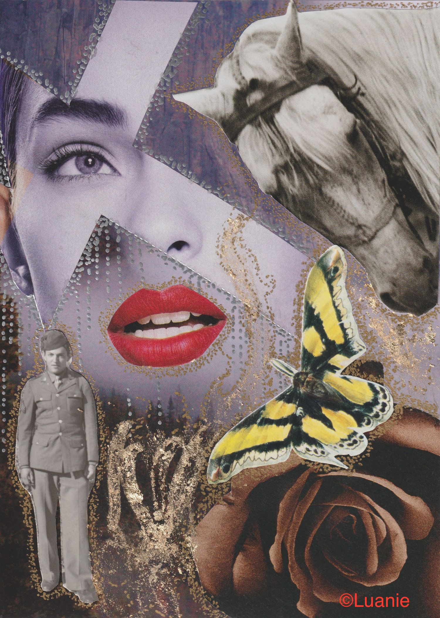 INNOCENT DANGER Collage SIGNED Original Artwork Mixed Media Outsider Art 5X7  By Found Object Artist Luanie LA102
