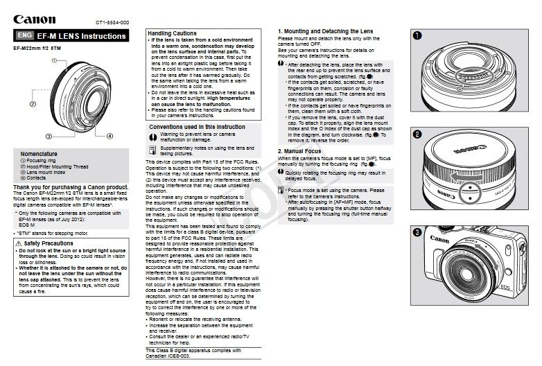 canon EOS M EF-M 22mm Manual, Owner User Guide and Instruction