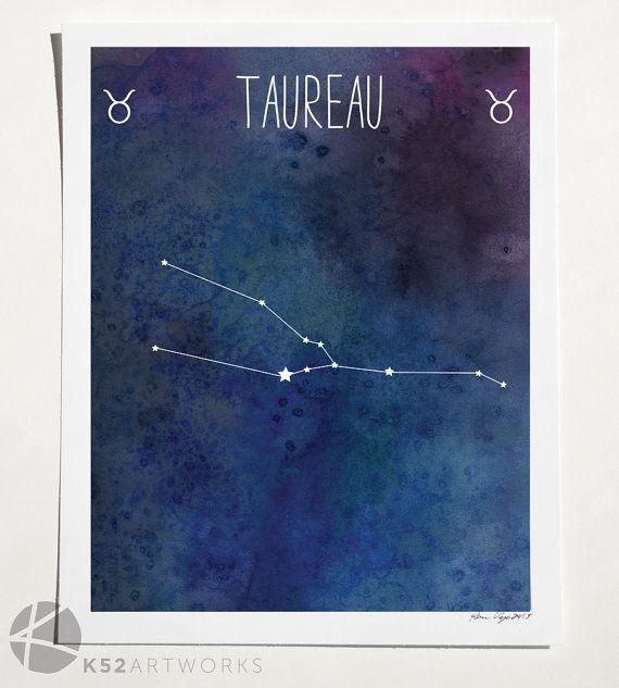 Taurus Zodiac Star Sign Constellation Art Print 8 X 10 Art