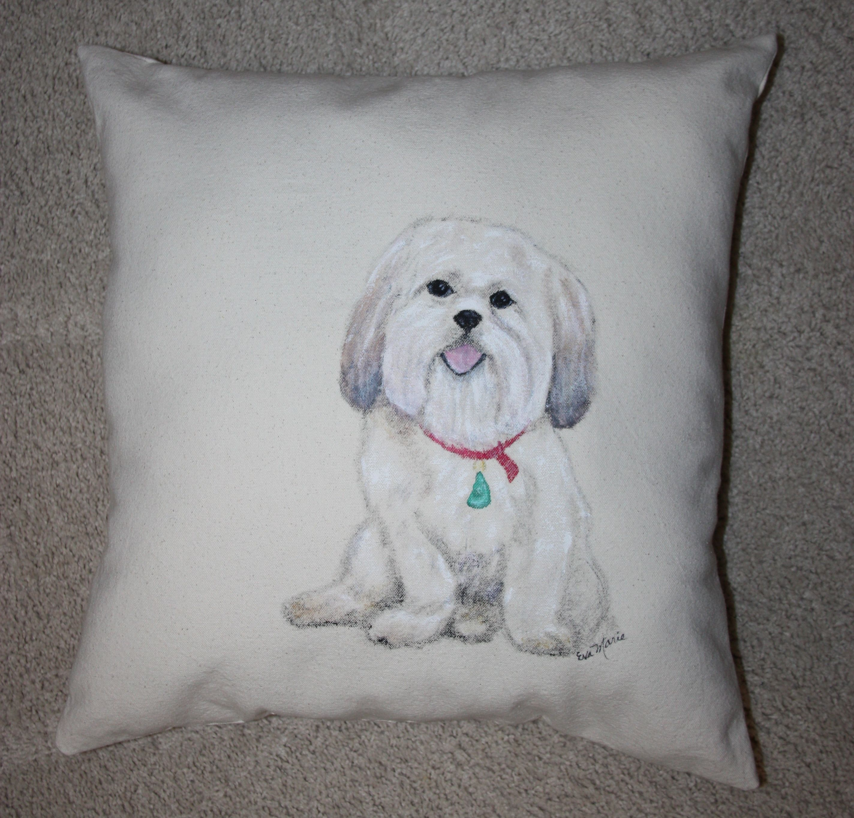Emmie Custom Pet Portrait Pillow Throw Art by Eva Marie