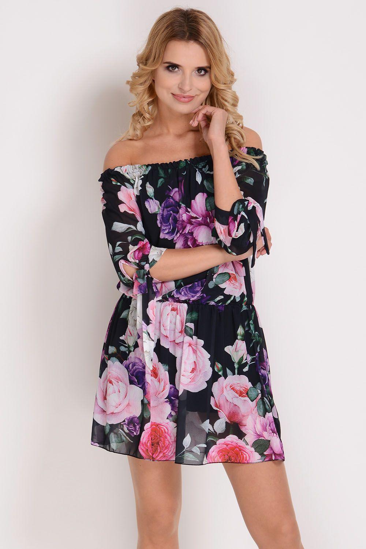 54bb458631d950 AVARO Kobieca sukienka a'la hiszpanka w kwiaty SU-1348, Kobieta Odzież  Sukienki - Avaro.pl
