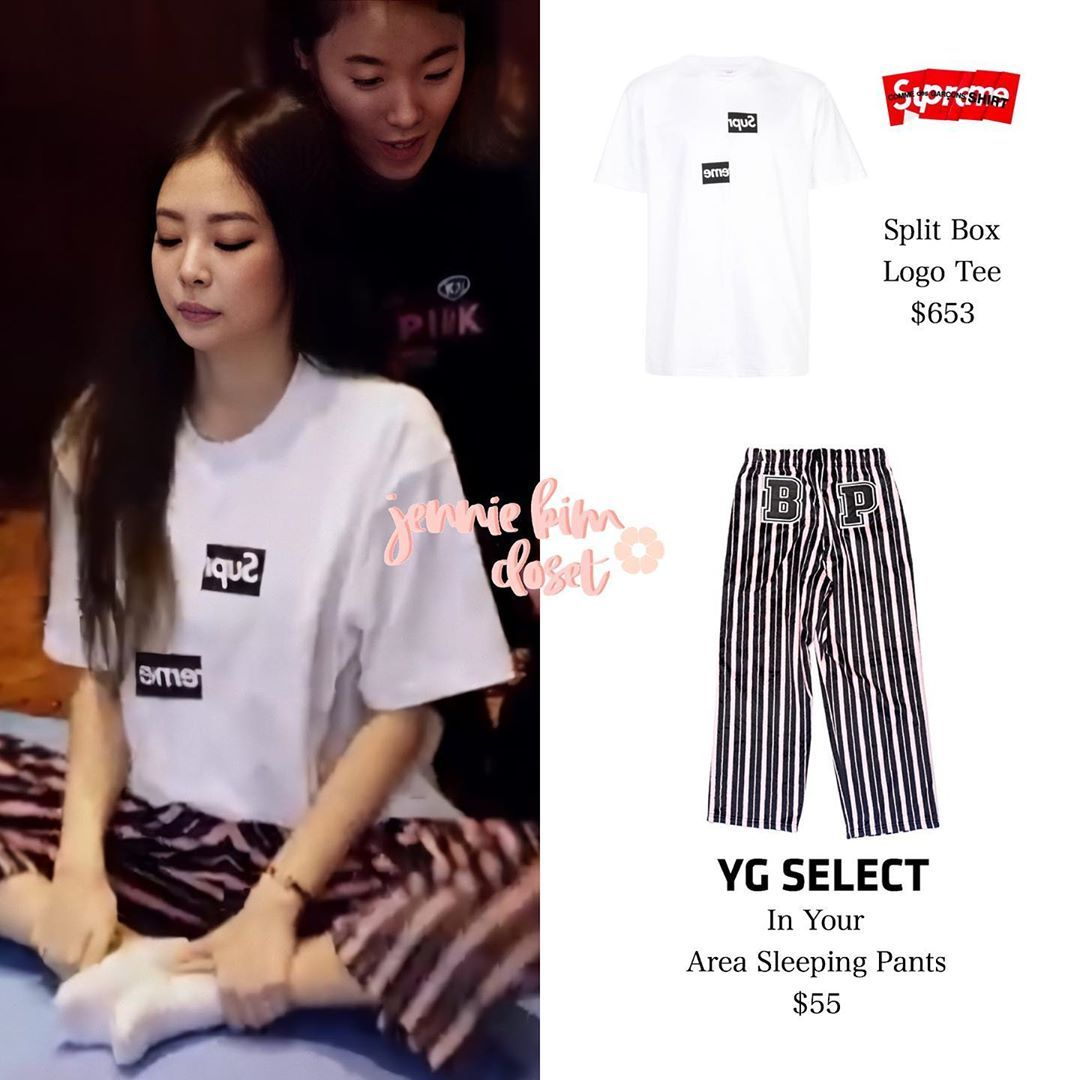 """JENNIE'S CLOSET on Instagram: """"190330   'BLACKPINK DIARIES' EP.4 Jennie Stretching before the Concert 🌿⠀ ⠀ —— Jennie wears #Supreme, #CommesDesGarcons, and #YGSelect.⠀ ⠀…"""""""