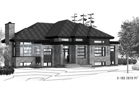 Plan d\u0027architecture maison neuve plain-pied V-105 Vib architecture
