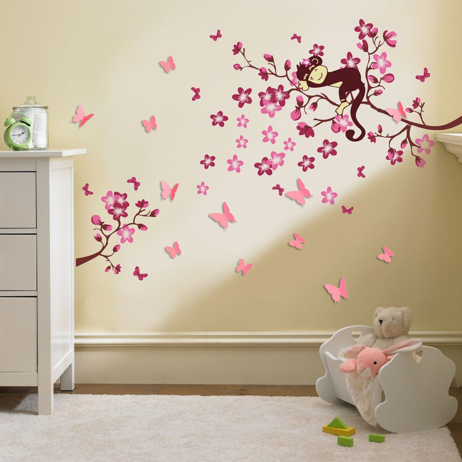 walplus stickers muraux 3d pour chambre d enfant papillons fleurs baby nursery joyful baby nursery wall decal combined with colorful drapery curtain and round pendant lamps with rectangle cradle