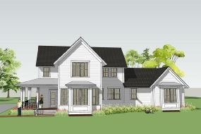 Classic American Farmhouse With Main Floor Master   The Withrow Farmhouse Simply  Elegant Home Designs