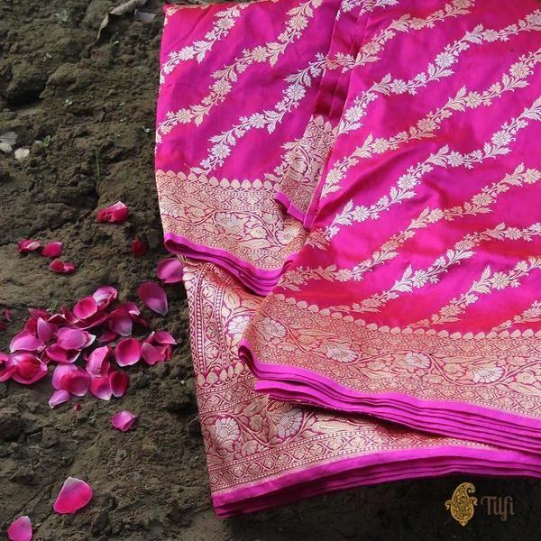 47d55c9116 Red-Rani Pink Pure Katan Silk Banarasi Handloom Saree | 5 yards of ...