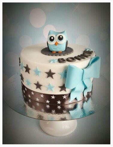 Babyshower Cake Boy Owl Babyshower Taart Jongen Uiltje