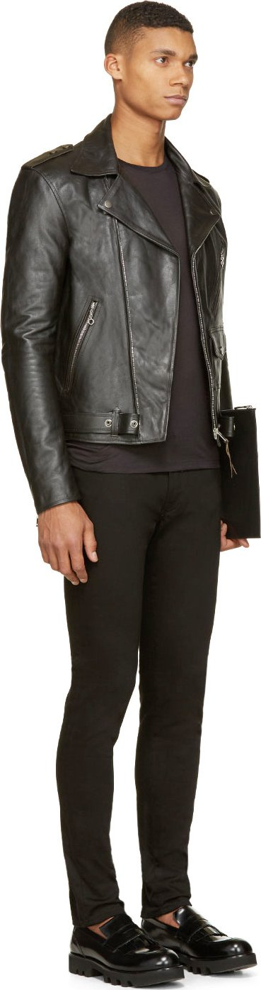 Maison Martin Margiela Black Leather Biker Jacket