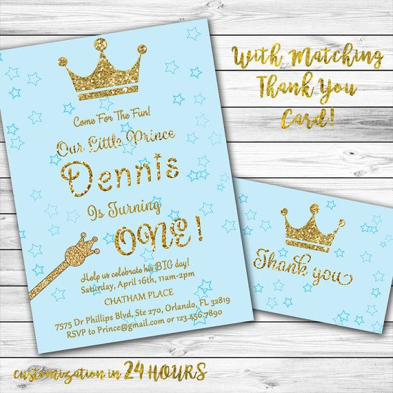 Prince Birthday Invitation Boy First Blue And Gold 1st Pri