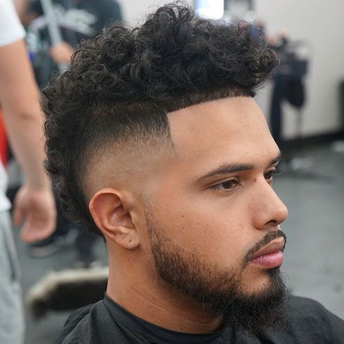 Curly Frohawk High Burst Fade Beard Curly Hair Men Cool Hairstyles For Men Haircuts For Men
