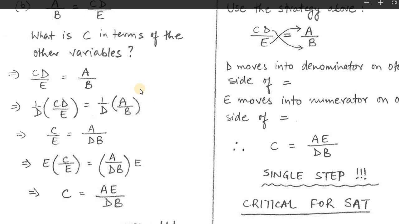 Easily Manipulate Any Equation On Sat Math Sat Prep Sat Math