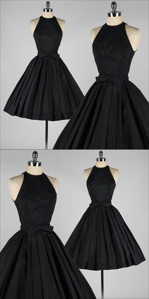 cf21bd32ee 50s Vintage Black Short Prom Dress With Bow