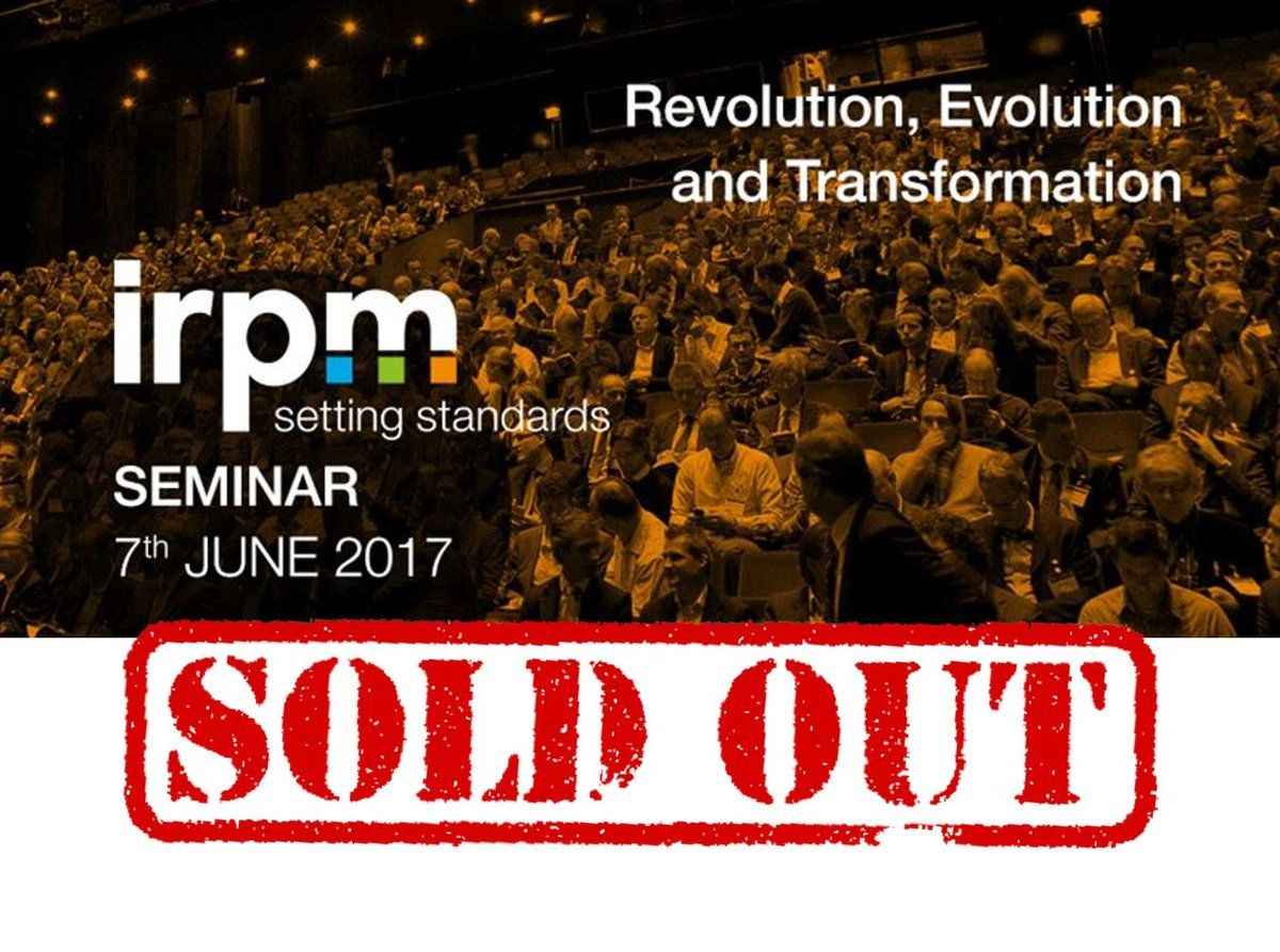 The 2017 IRPM Annual Seminar is completely SOLD OUT! #IRPMSem17 http://buff.ly/2qRZquh