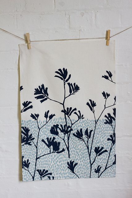 teatowel - kangaroo paw in charcoal by ink & spindle #fabricstamping