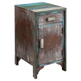Reclaimed wood cabinet with block pulls and bracketed feet. Product: Chest  Construction Material: Reclaimed wood  Color: Distressed blue and brown   Features: Curved brackets at the feet  Multicolor accents and striped top  Dimensions: 26.25 H x 14.75 W x 17.5 D