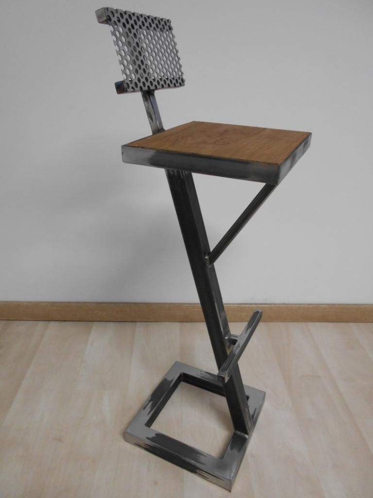 Tabouret de bar style industriel mtal bois | Joe ...