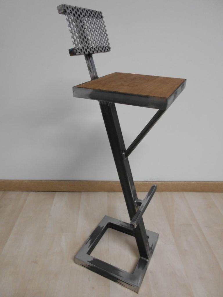 Tabouret Chaise De Bar Style Industriel Metal Bois Tabouret De