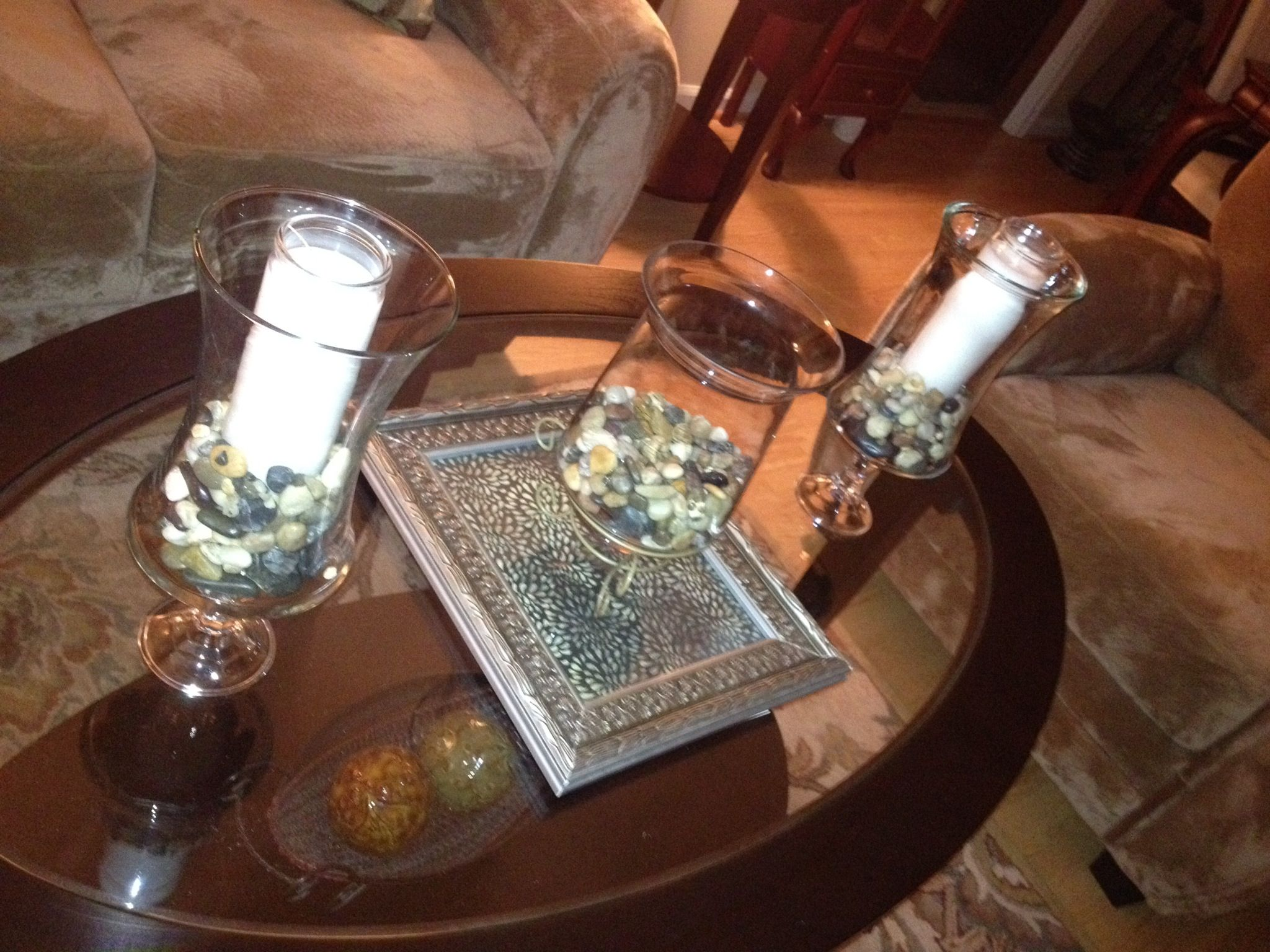 Goodwill hurricane vases dollar tree candlesticks candleholders goodwill hurricane vases dollar tree candlesticks candleholders and rocks e600 glue complete coffee table decor under 20 all you need to add is an geotapseo Image collections