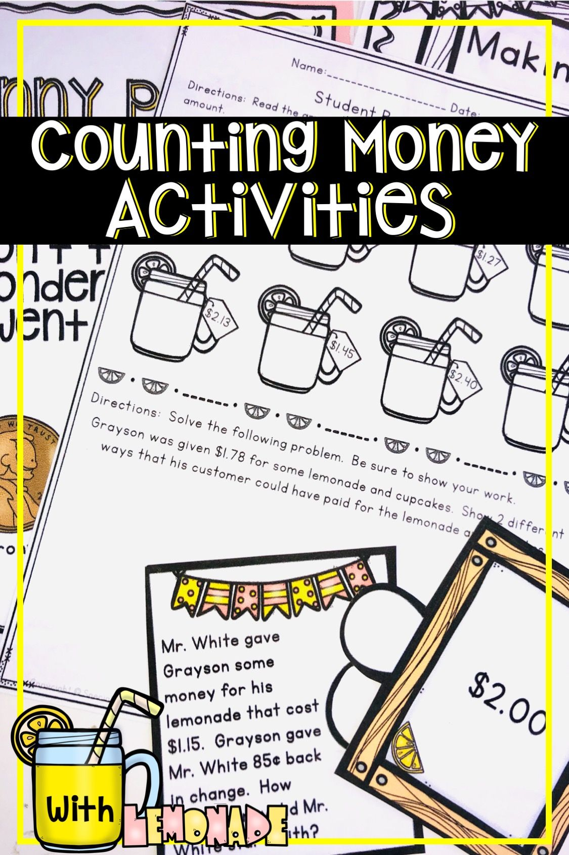 Counting Money Activities   Money word problems [ 1688 x 1125 Pixel ]