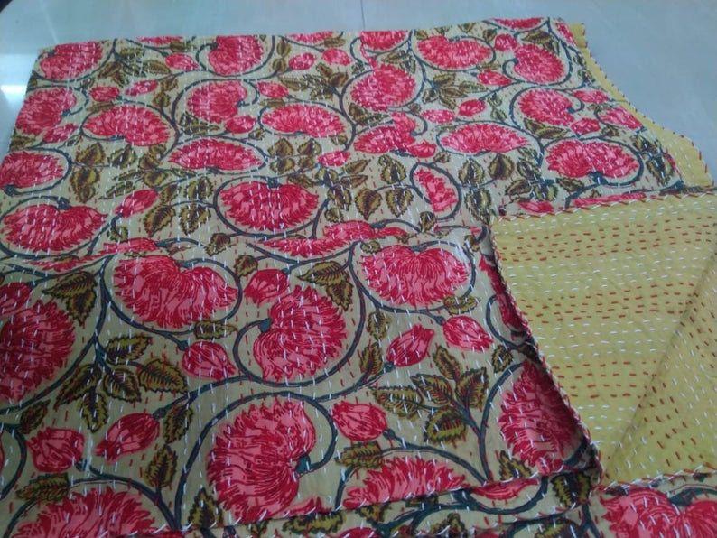 Indian Floral Print Kantha Quilt Handmade Cotton Bedspread Queen Size Kantha Coverlet Kantha Bed Cover Throw Kantha Blanket