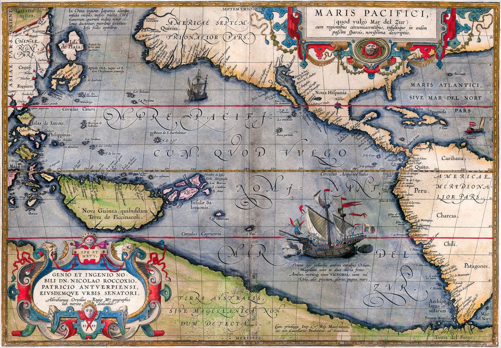 Details about antique old map of the pacific vintage 1589 fade details about antique old map of the pacific vintage 1589 fade resistant hd gumiabroncs Images