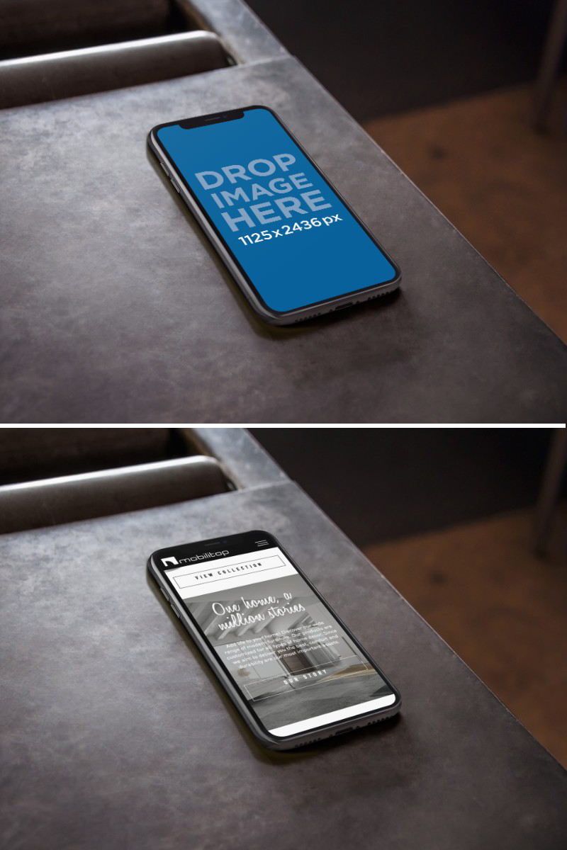 Iphone X Mockup Lying On A Metal Work Table A17481 Iphone Mockup