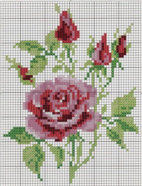 Маленькие розы схемы вышивки крестом
