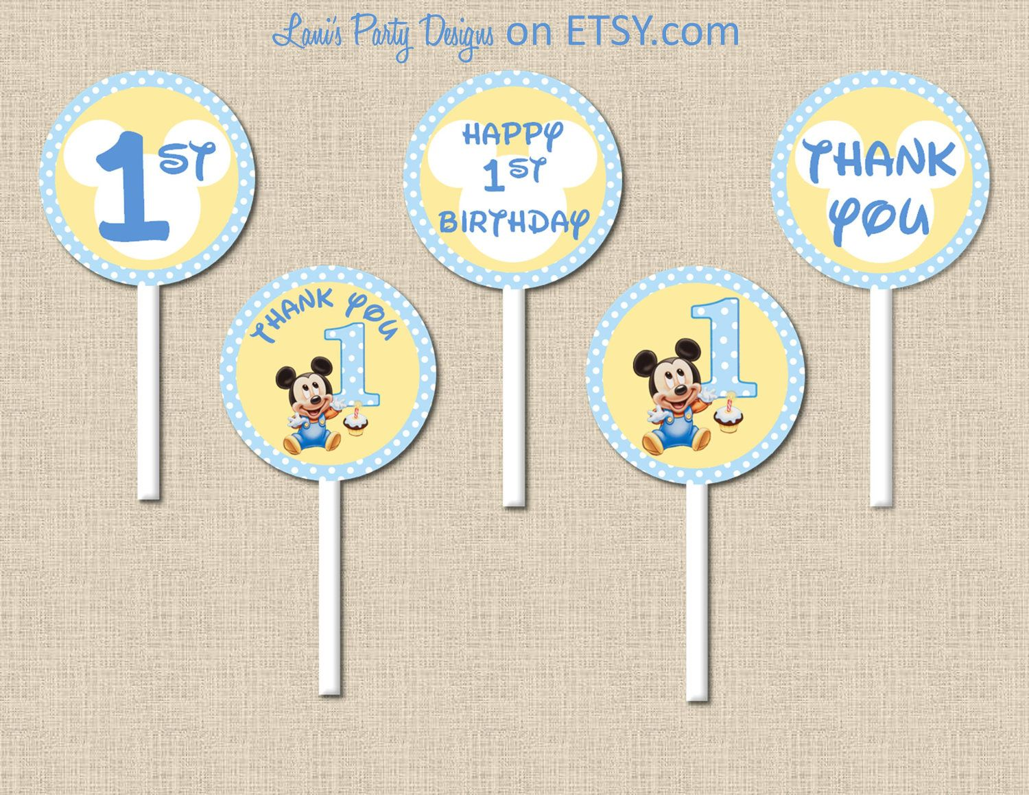 instant download polka dot baby mickey mouse party circles cupcake toppers matches mickeys
