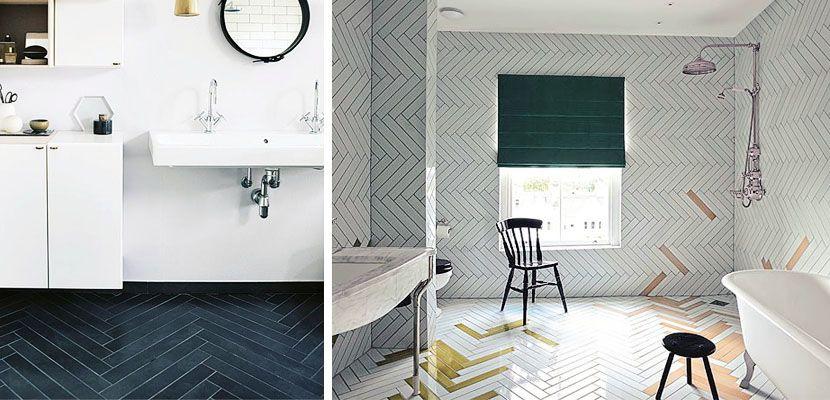Suelos o paredes con patrón de espiga en el baño | Fischgrätenmuster ...