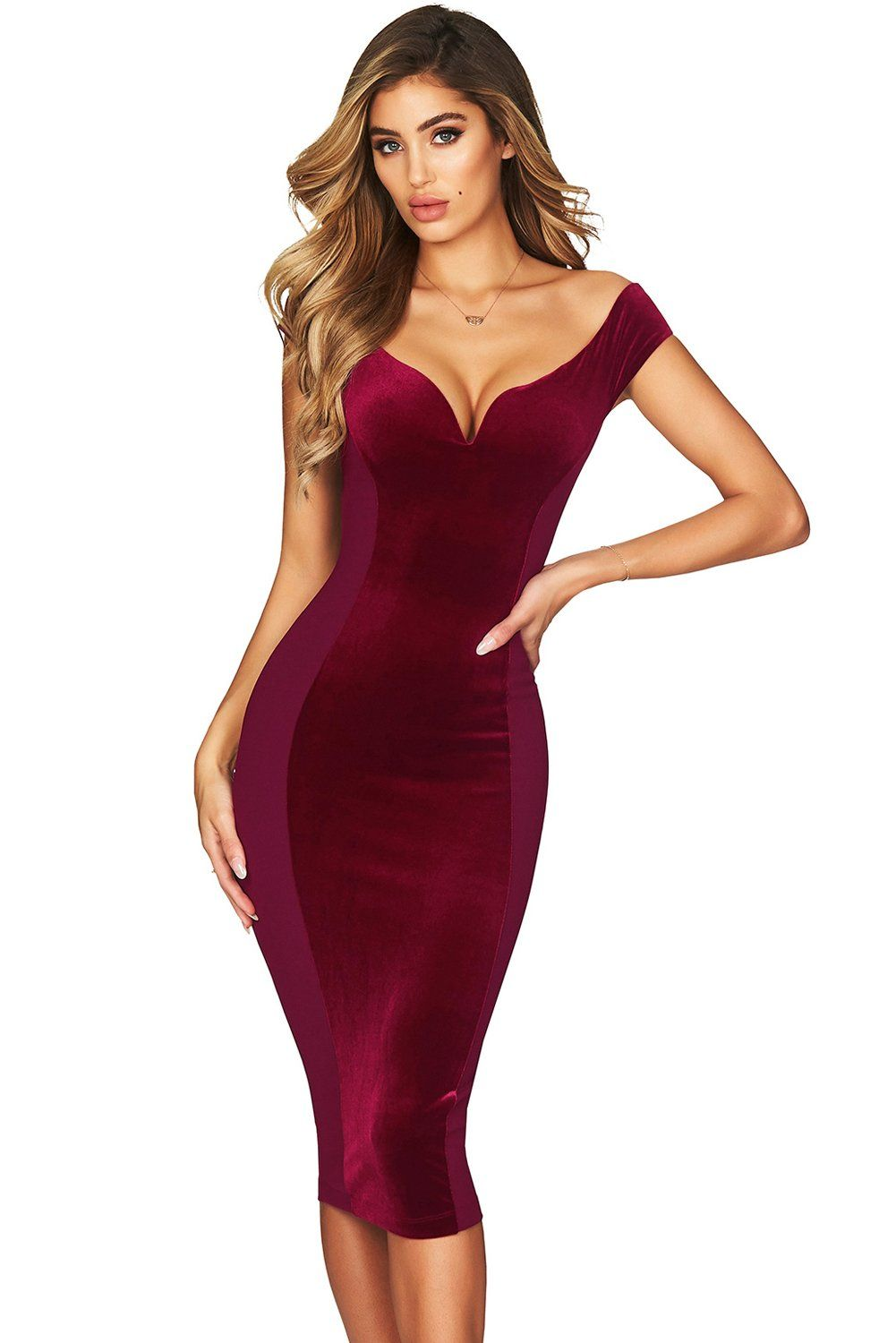 765404011a1 Show Hourglass Figure Burgundy Off Shoulder Dress | Hourglass shape ...