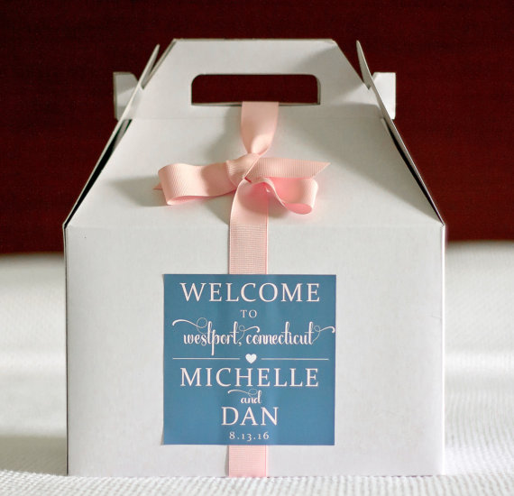Location Hearts Wedding Welcome Box Sticker Gable Labels Gift Bag Stickers
