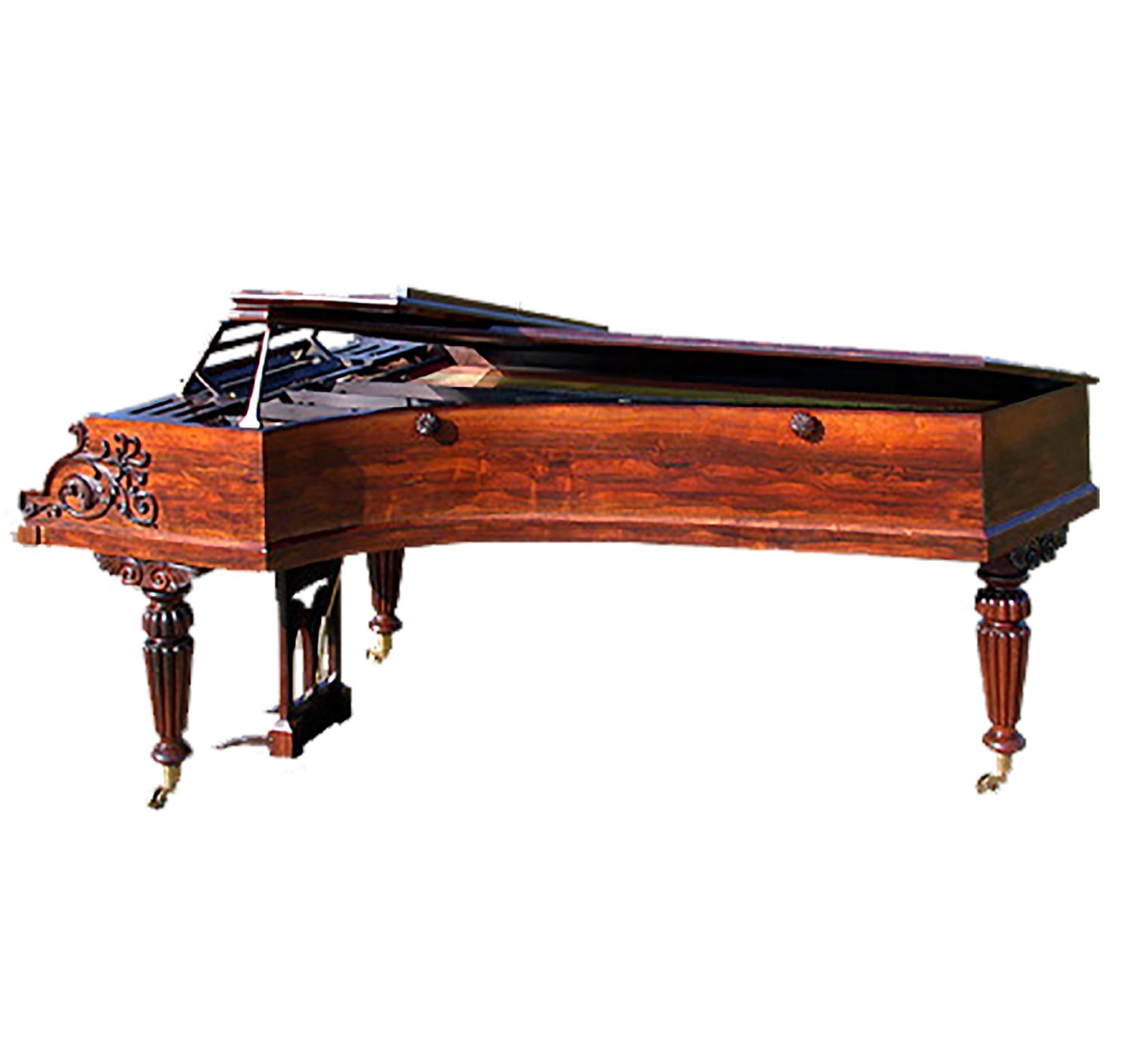 A Fine Example Of The 6 Octave Bichord Grands Rosewood With Applique Carving To Case Reeded Legs 7 6 Antique Sewing Table Piano Rosewood