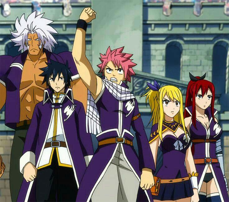 Fairy Tail Team A, Elfman, Natsu, Gray, Erza, Lucy, Grand Magic