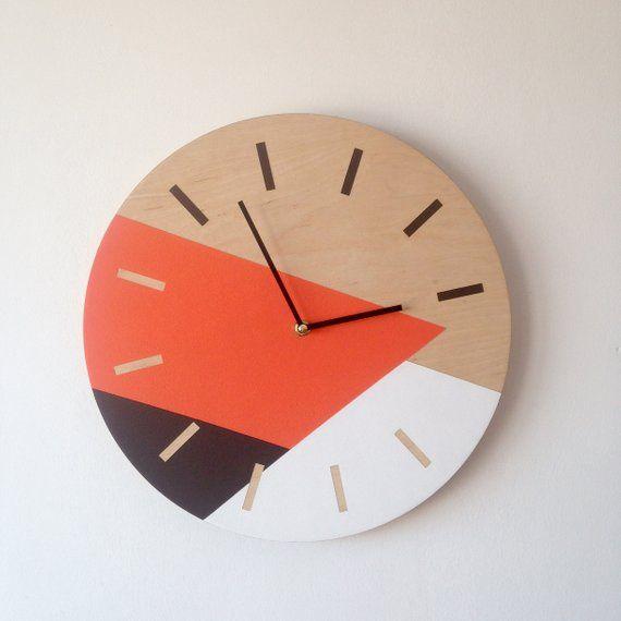 Minimalist wall clock Geometric wall decor Orange brown white #clock