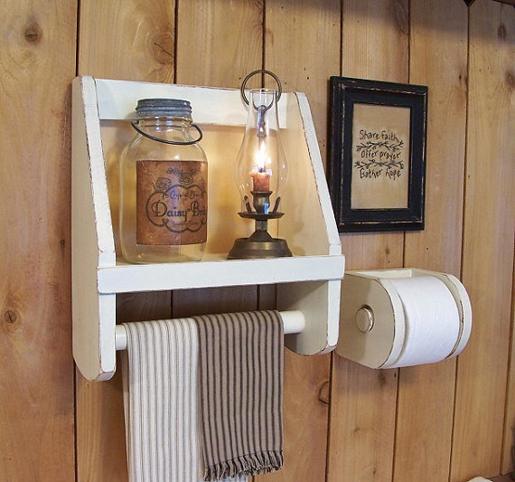 Items Similar To Primitive Bathroom Storage Towel Shelf Toilet Paper Holder Set Old Farmhouse Style Original Design By Sawdusty Color Choice On Etsy