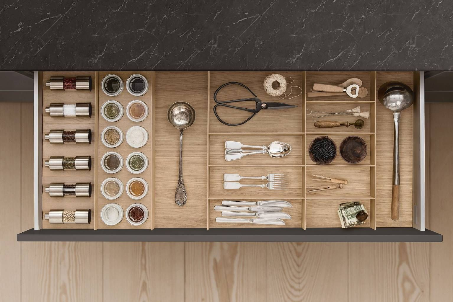 cutlery spice mills and porcelain jars in drawer with siematic kitchen interior accessories on kitchen interior accessories id=55653