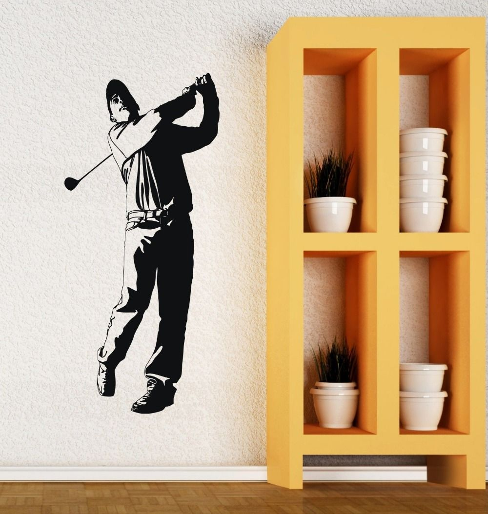 Golf Vinyl Wall Decal Golf Club Player English Sports Man Fan Mural ...