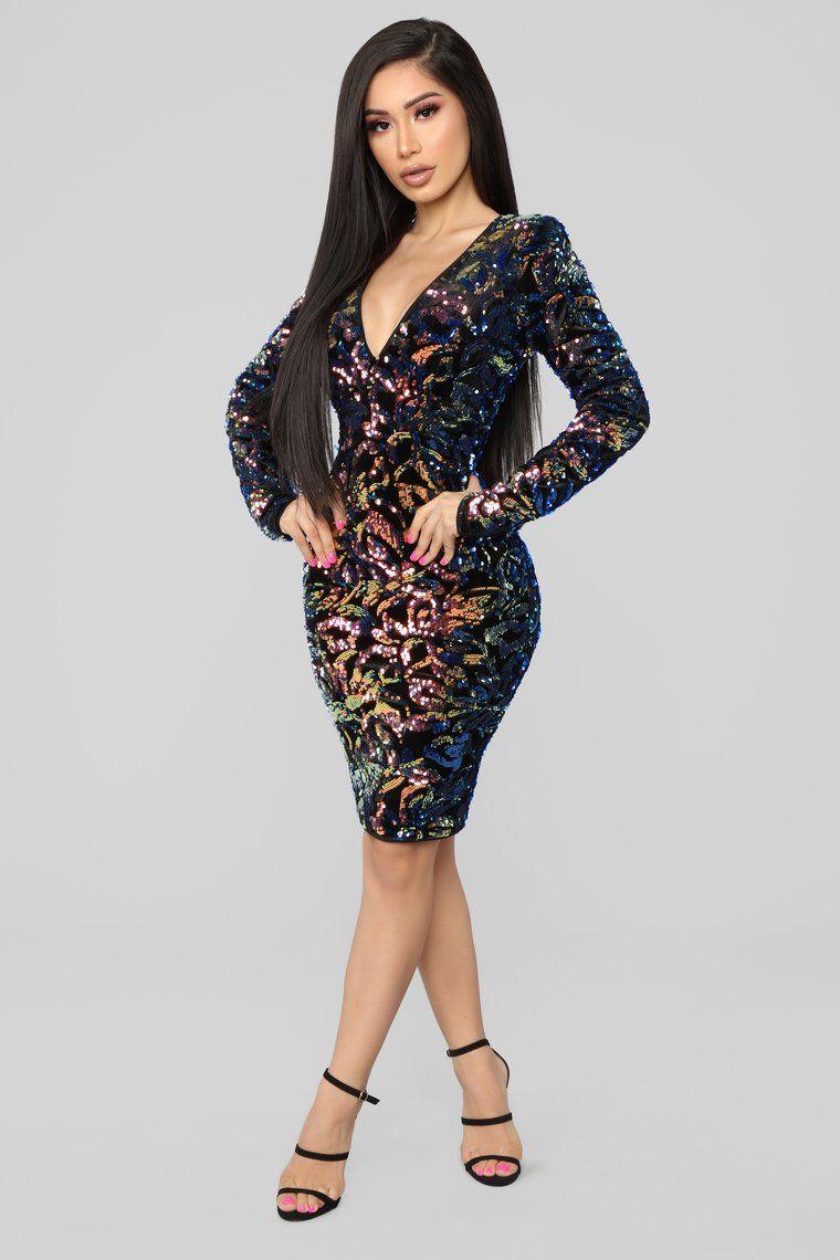 Sparks Between Us Sequin Dress Iridescent Navy Dresses Iridescent Dress Fashion Nova Dress