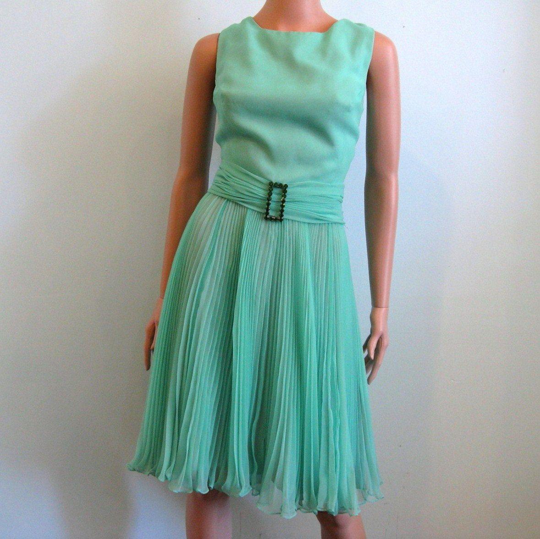 1960s Sea Foam Chiffon Party Dress // MISS ELLIETTE // M | Sea foam ...