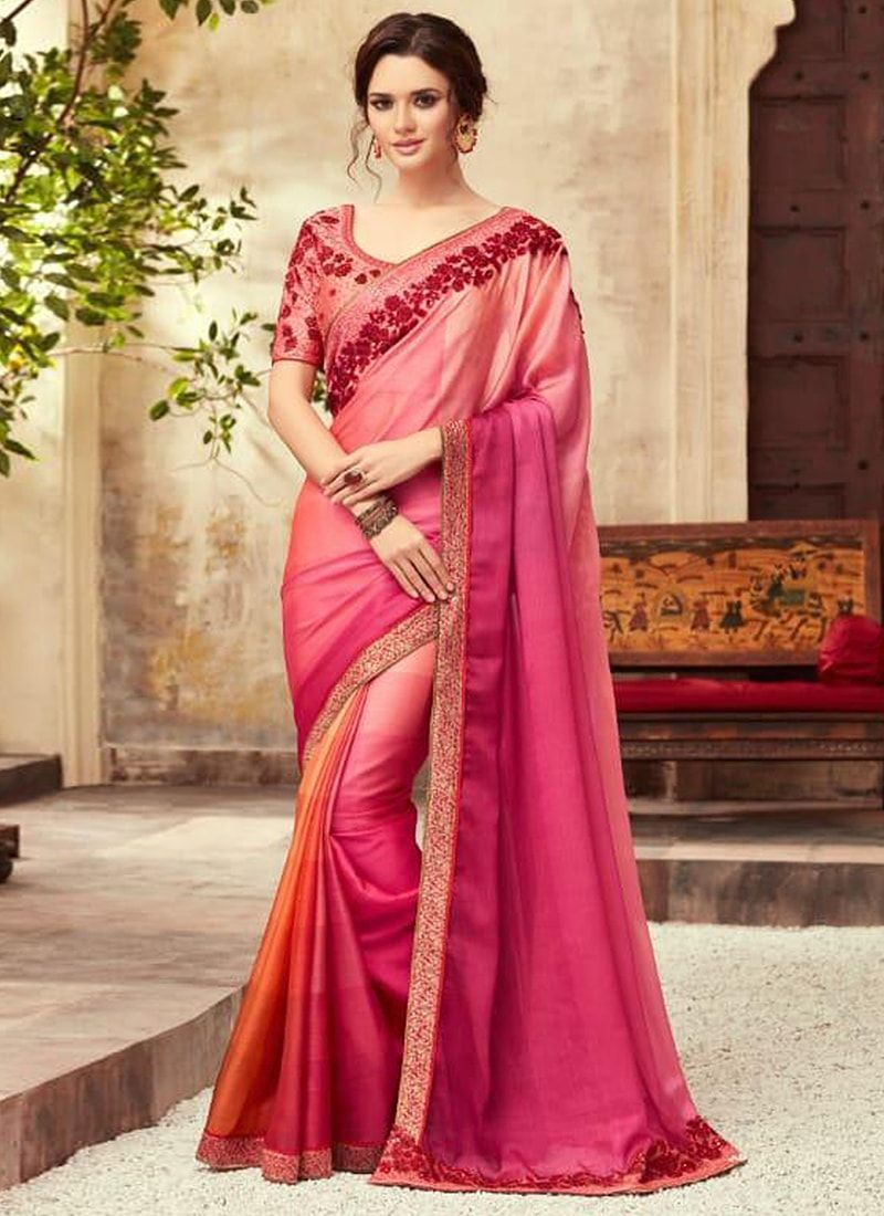066b4e5a65 Silk Shaded Peach Embroidered Party Wear Saree | Eternal Beauties in ...