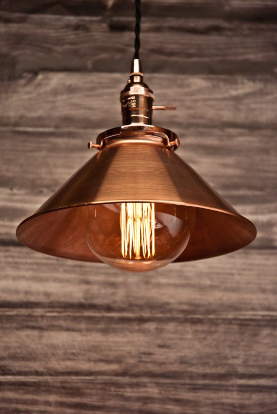 Copper 10 Cone Shade Industrial Hanging By Vintagelightszone Copper Lighting Rustic Light Fixtures Hanging Pendant Light Fixtures