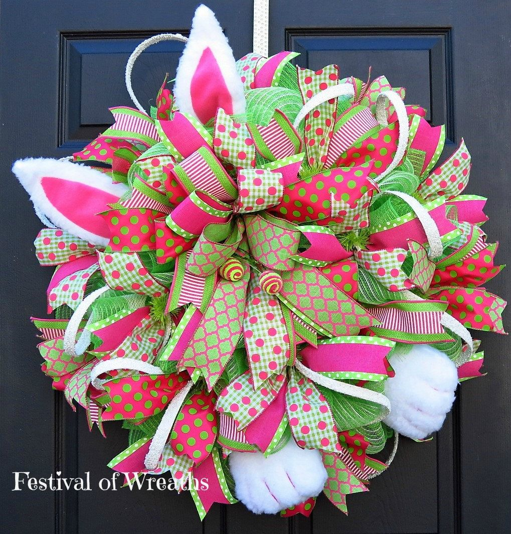 Spring Easter Deco Mesh Wreath - Spring Easter Front Door Wreath ...