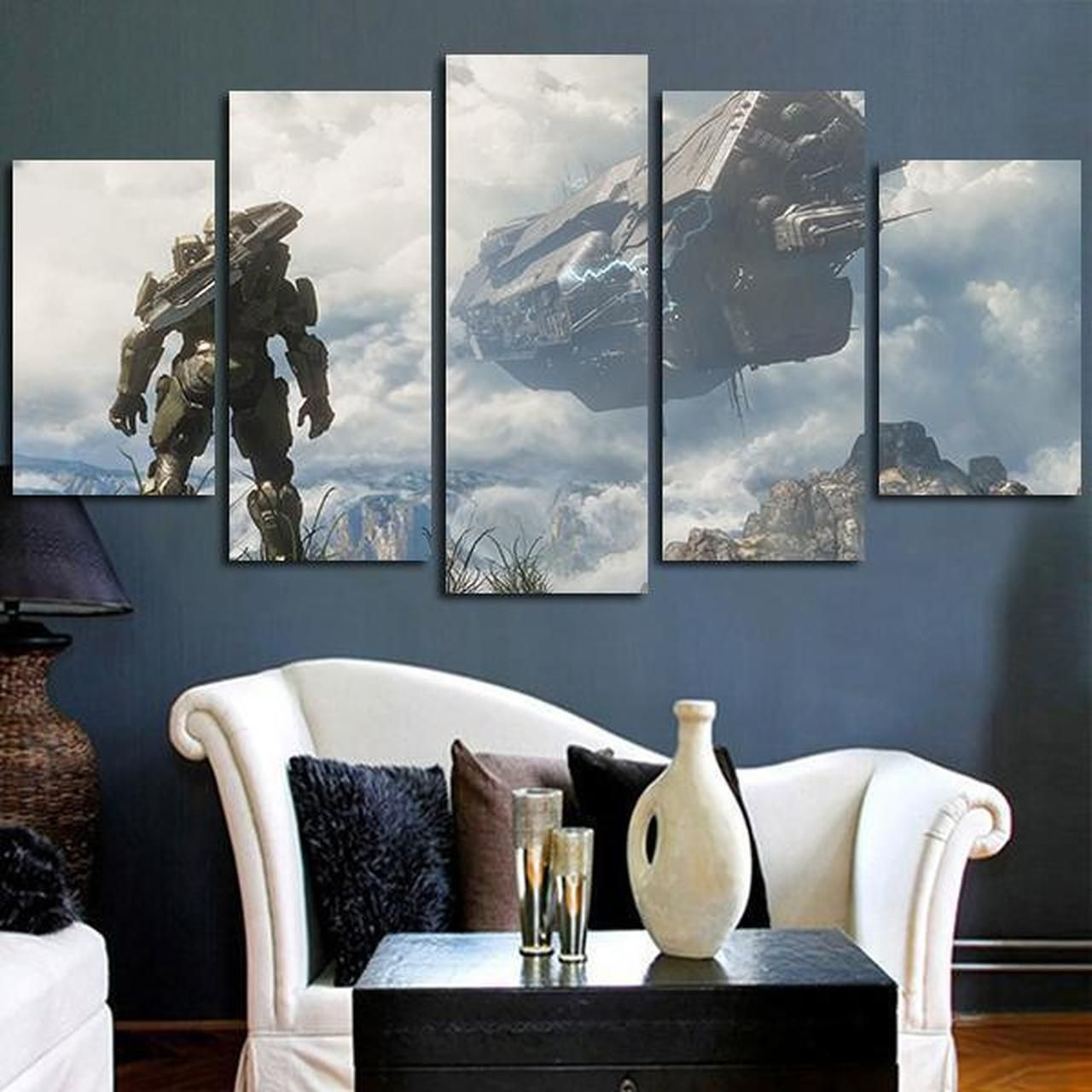 5 Panel Halo 4 Master Chief Wall Art Canvas Fall Wall Art Customized Canvas Art Wall Canvas