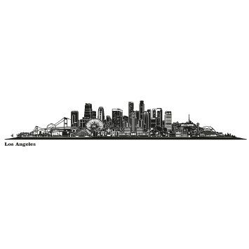 Amazon Com Wandkings Skyline Wall Sticker Wall Decal 48 8 X 8 3 Inch In Black Your City Selectable Los Angeles Wall Decals Skyline Wall Stickers