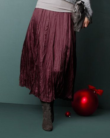 this long Silk Skirt in dark rose is perfect with boots...