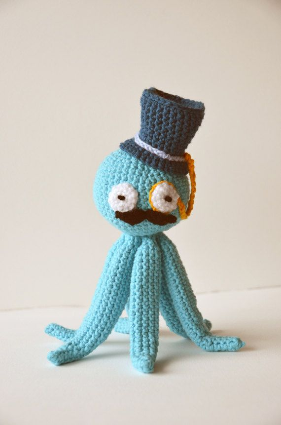 OMG I WANT ONE!!!!!    Octopus Like A Sir... - Amigurumi - with Top Hat, Monocle and Moustache - Nautical Marine theme - Ocean - Blue - Squid. $29.99, via Etsy.