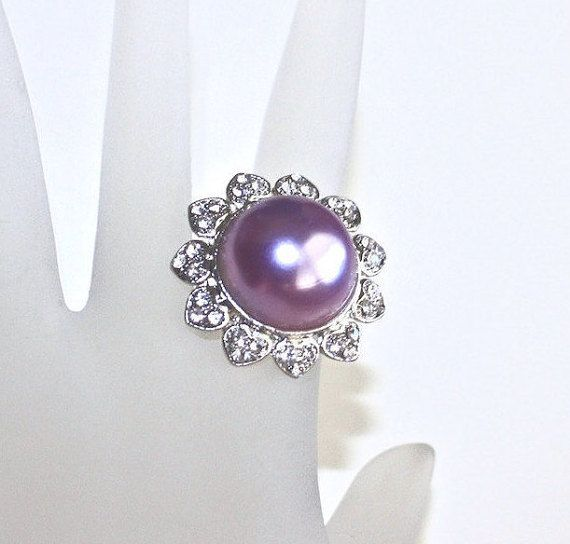 Purple Dome Ring  Vintage Chunky Purple Faux by LoriLakeTreasures